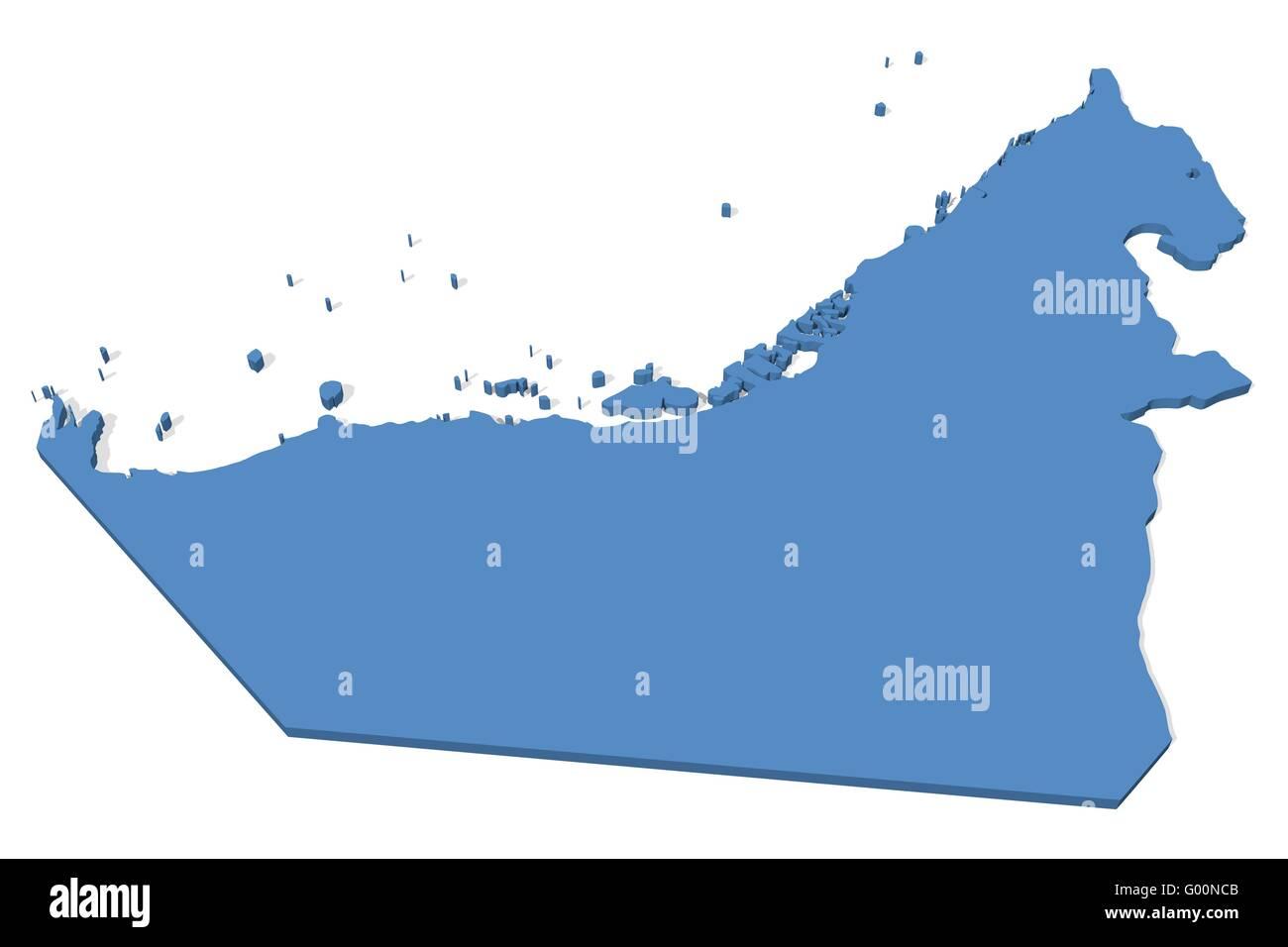 United Arab Emirates Map - Stock Image