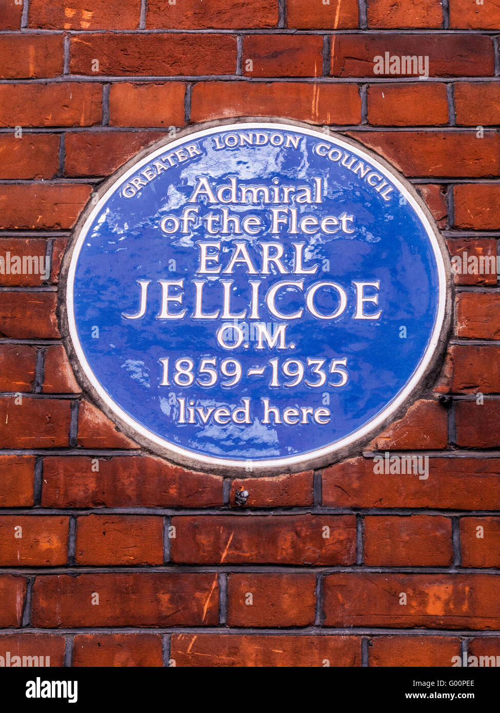 Earl Jellicoe, Admiral, blue plaque, London - Stock Image