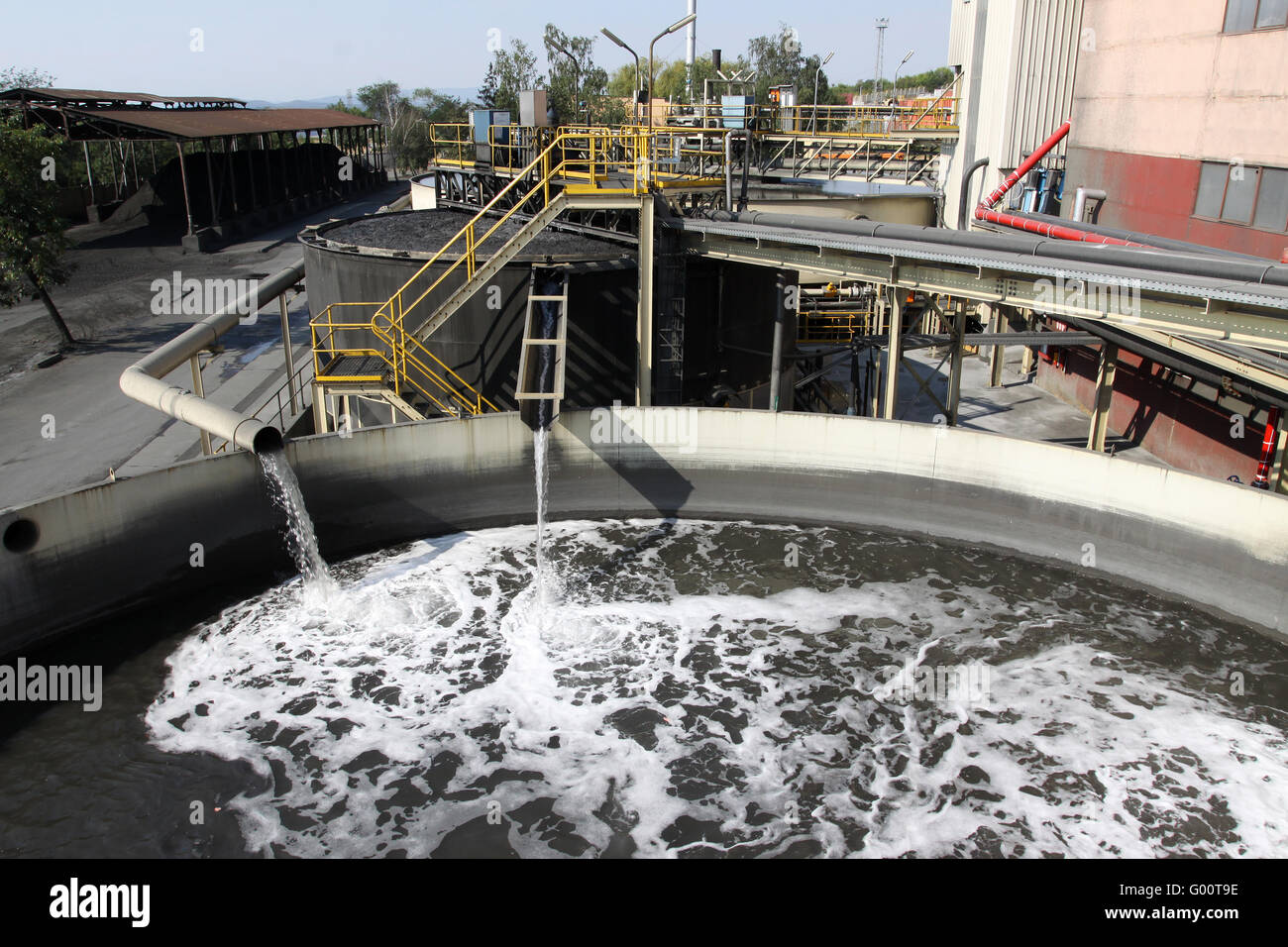 Water treatment plant with dirty sludge - Stock Image