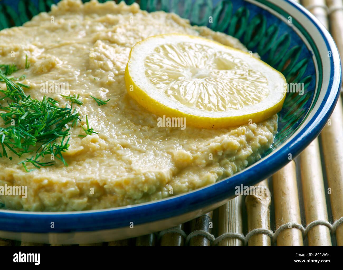 Limon Soslu Humus - Hummus with Lemon Sauce - Stock Image