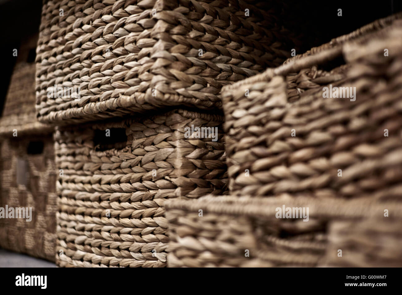 Stacks Of Natural Fiber Storage Baskets In A Rectangular Shape