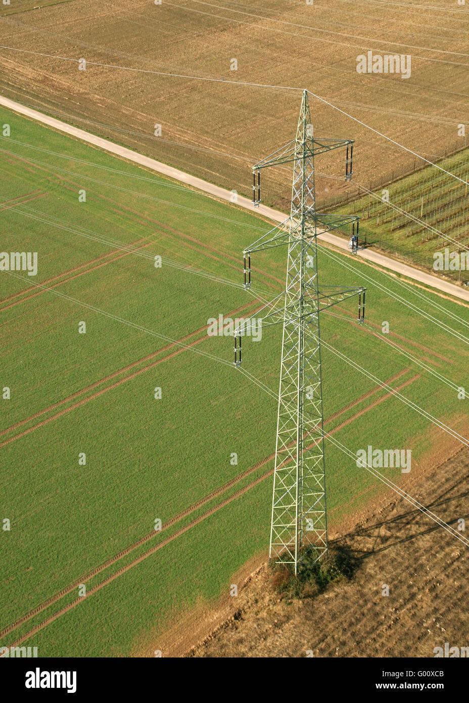 Power Pole From Above / Strommast von oben - Stock Image