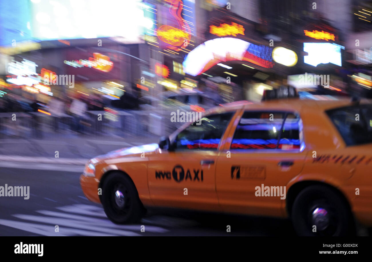 Taxi in New York/ Yellow cab taxi at the Broadway - Stock Image