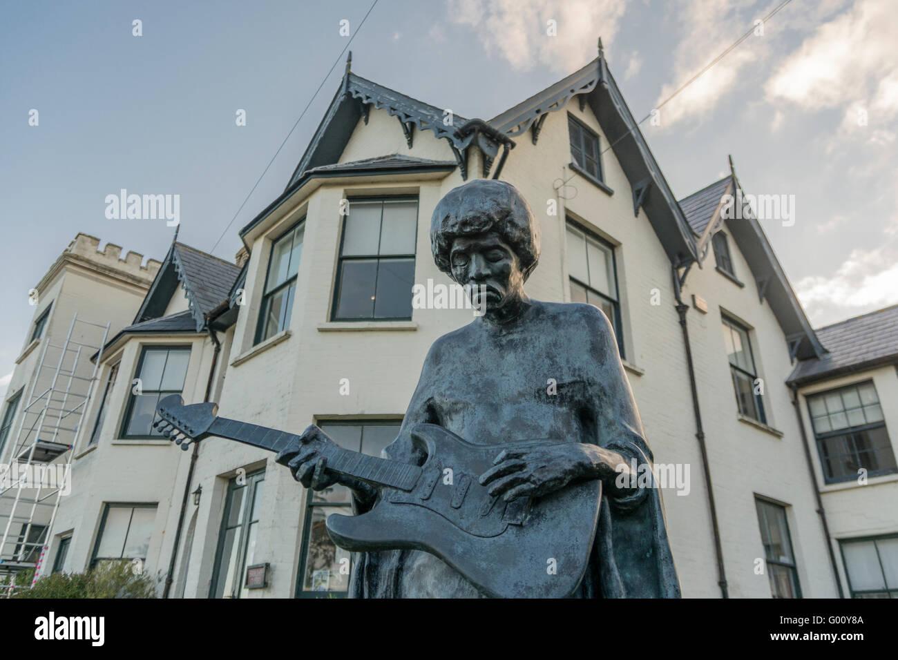 Jimi Hendrix Statue, Isle Of Wight, southern England. Stock Photo