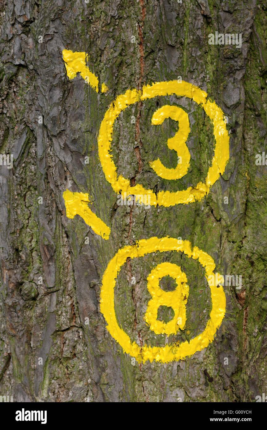 trekking trail sign Stock Photo