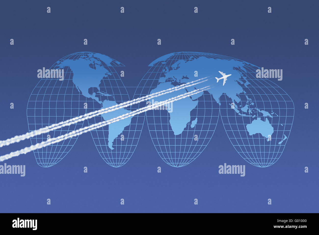 Aircraft in front of a world map in Goode-Projection - Stock Image