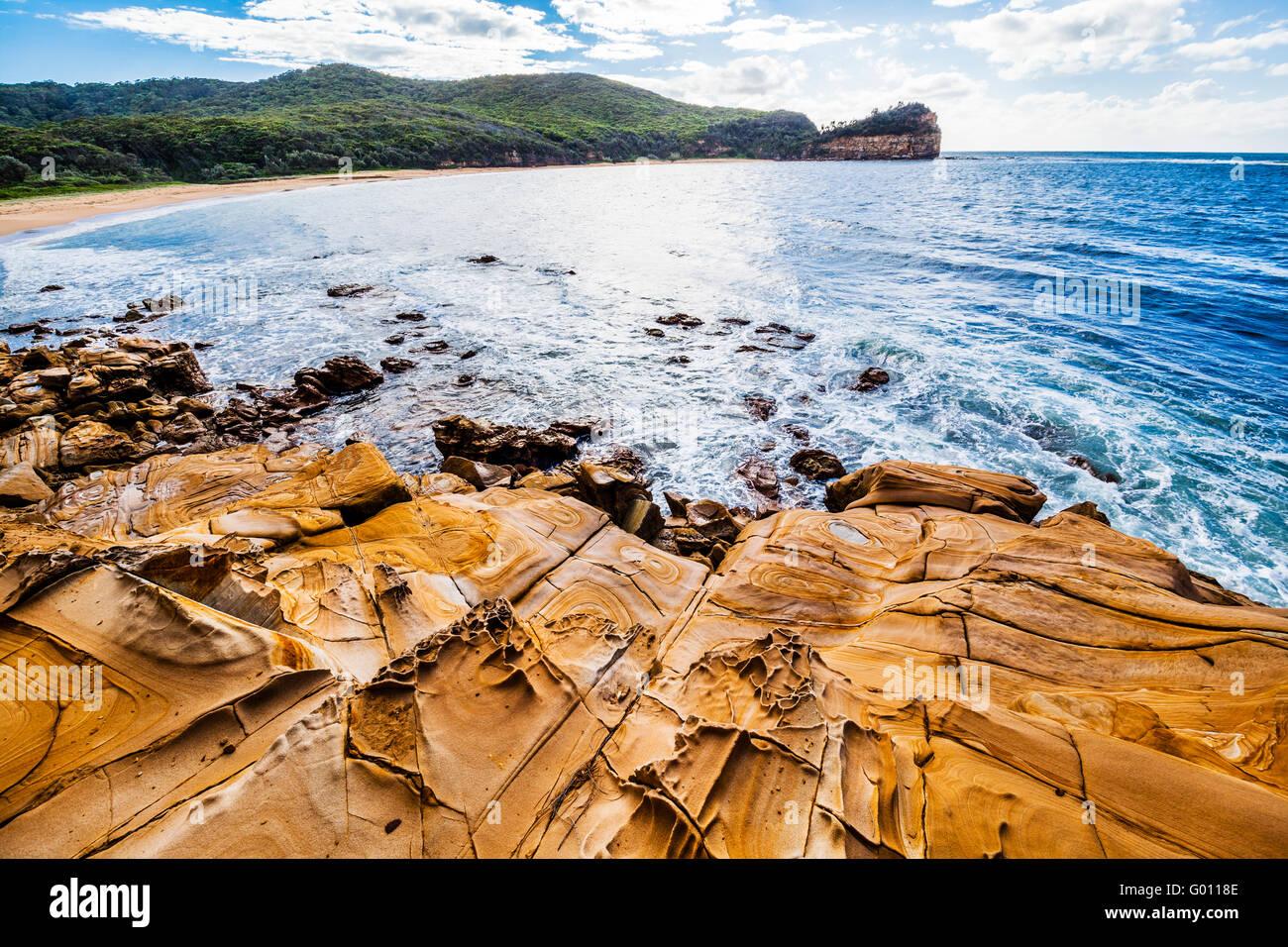 Australia, New South Wales, Central Coast, Bouddi National Park, rock platform at Maitland Bay - Stock Image