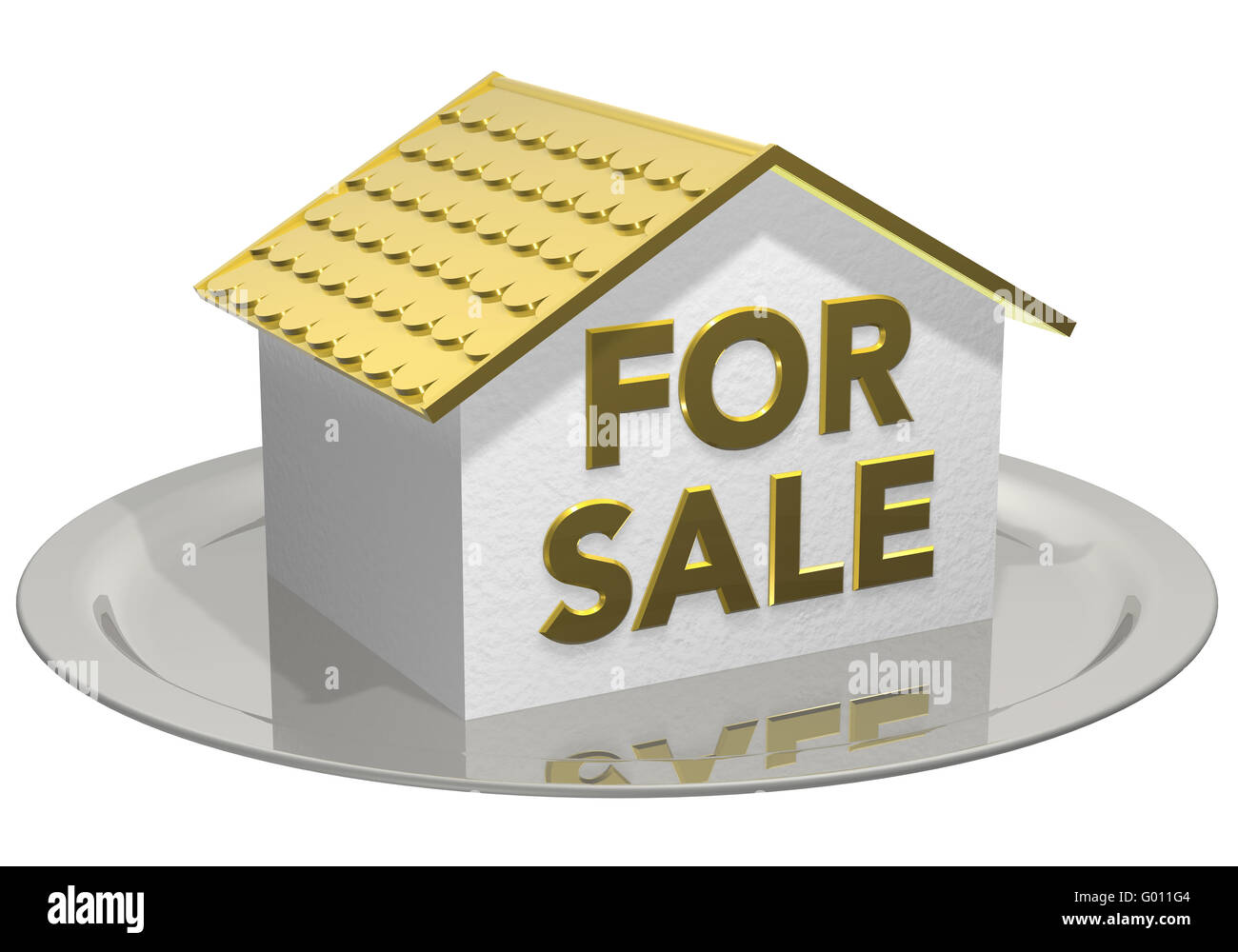house for sale gold - Stock Image