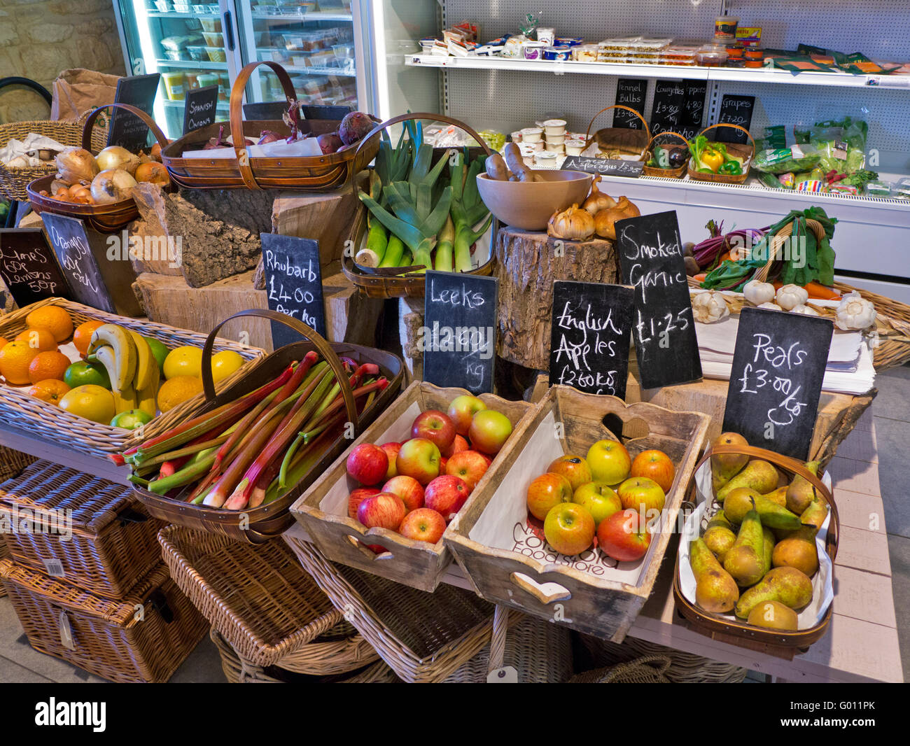 Traditional rural produce farm shop interior with fresh local fruit and vegetables on sale Gloucester Cotswolds - Stock Image