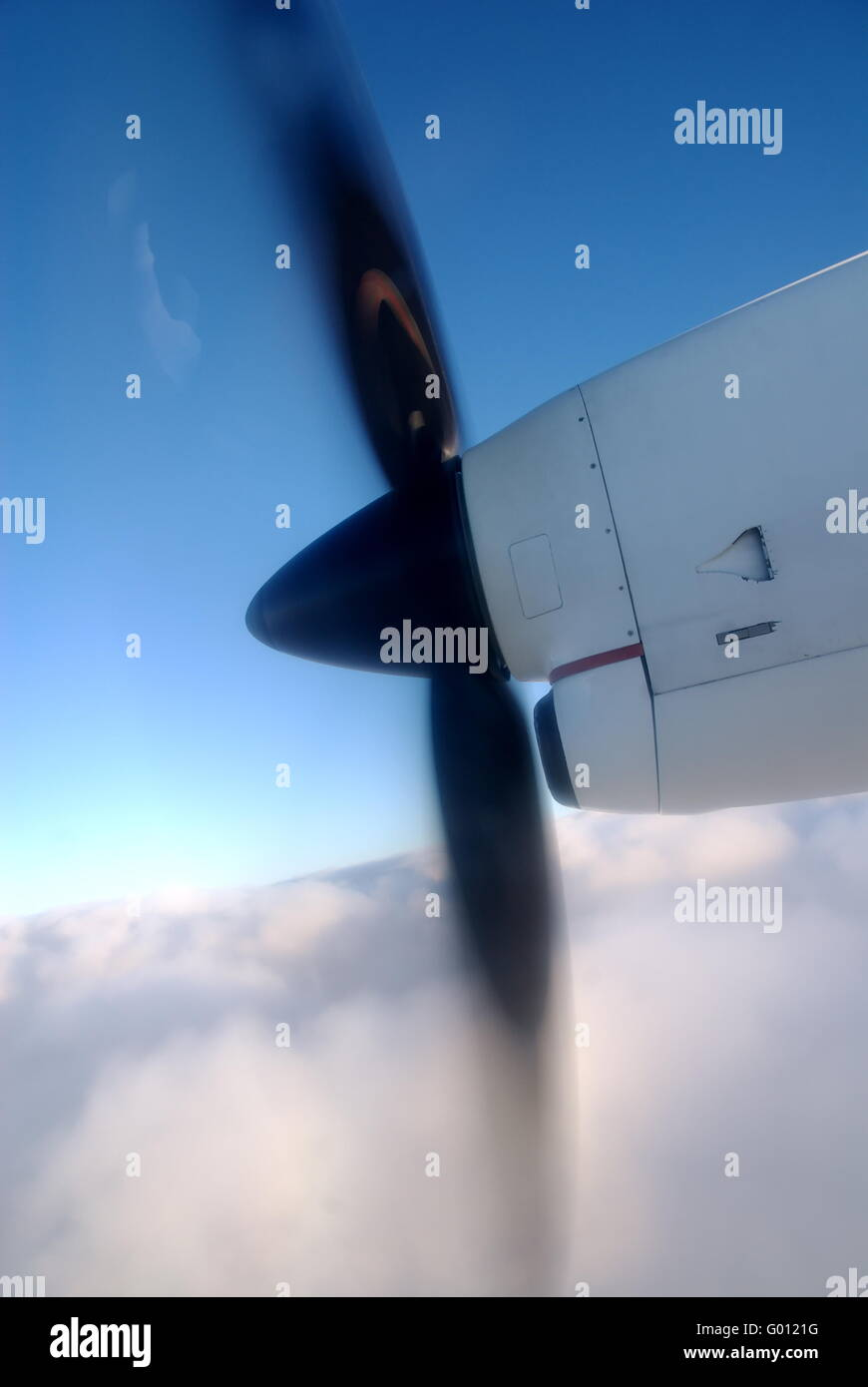 Turboprop Aircraft in flight - Stock Image