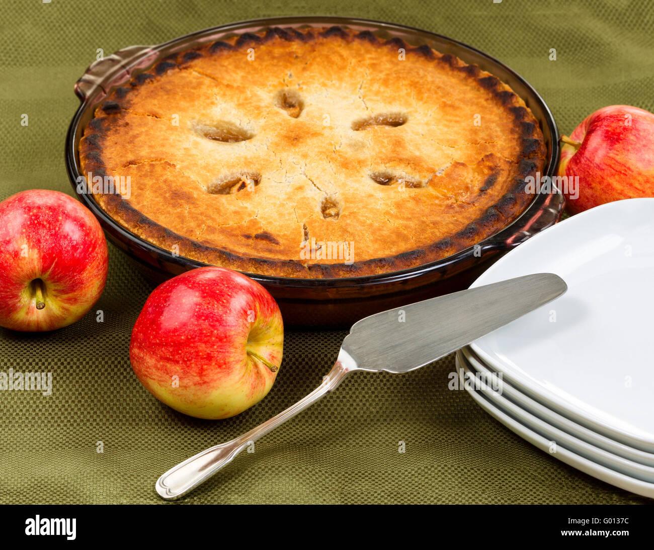 Freshly baked homemade apple pie - Stock Image