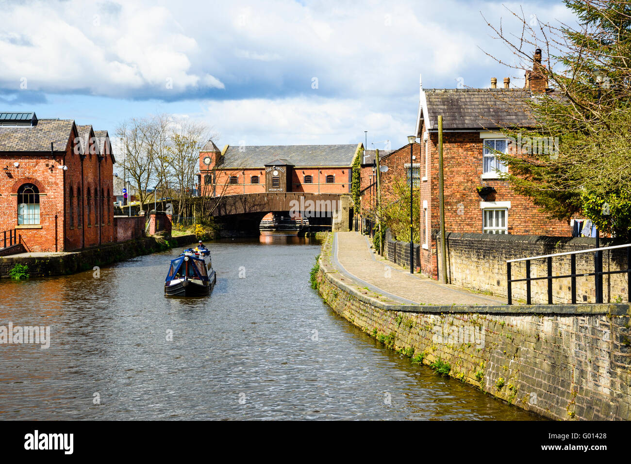 Narrowboat on Leeds and Liverpool Canal in Wigan Greater Manchester UK - Stock Image