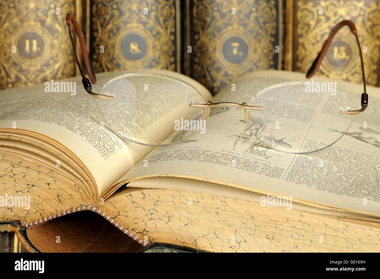 Alte Lexika/ Old lexicons - Stock Image