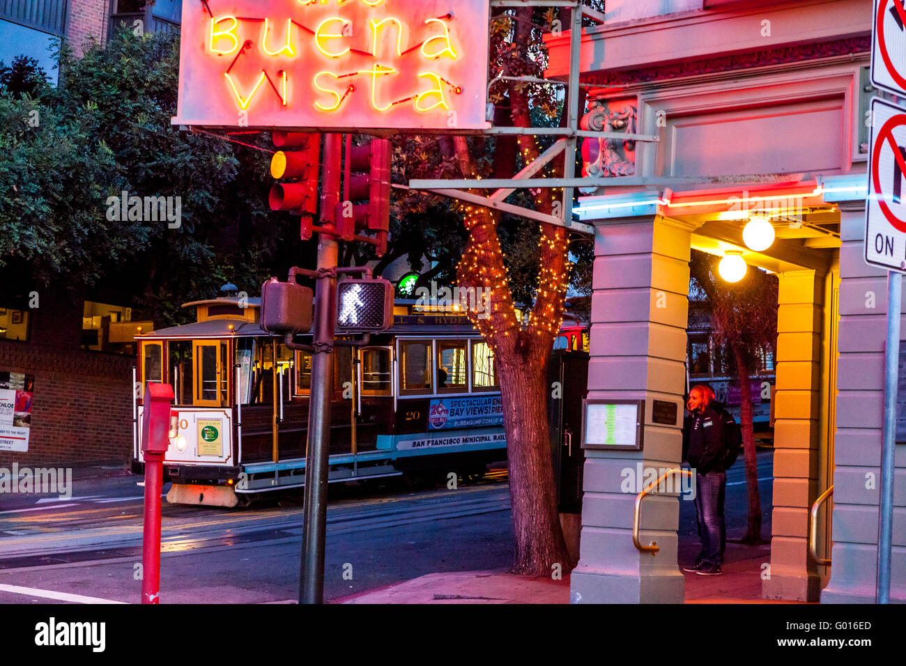 A San Francisco Cable Car parked for the night at Fishermans Wharf in San Francisco California - Stock Image