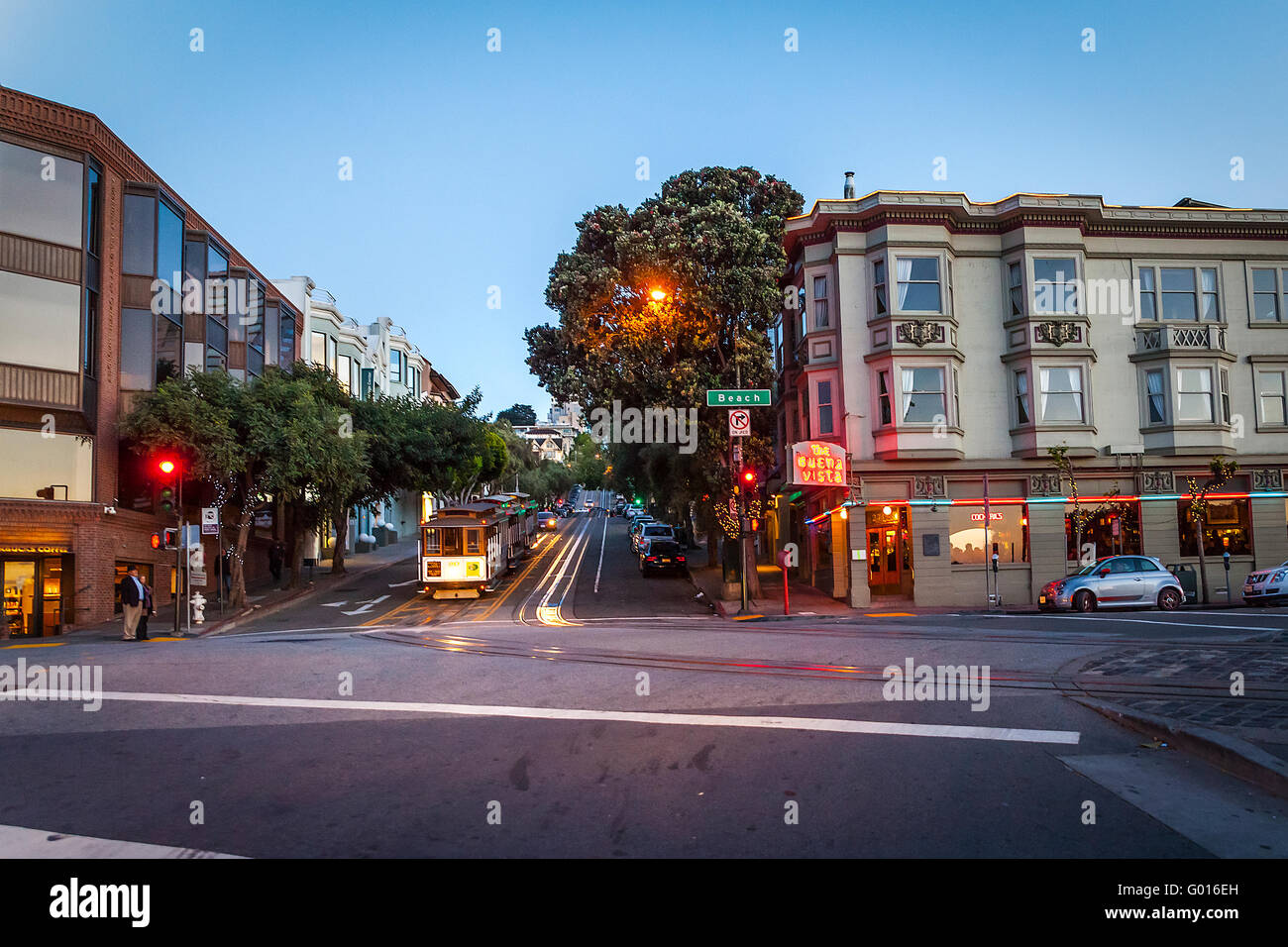 Hyde and Beach streets in San Francisco California with cable cars parked for the evening - Stock Image