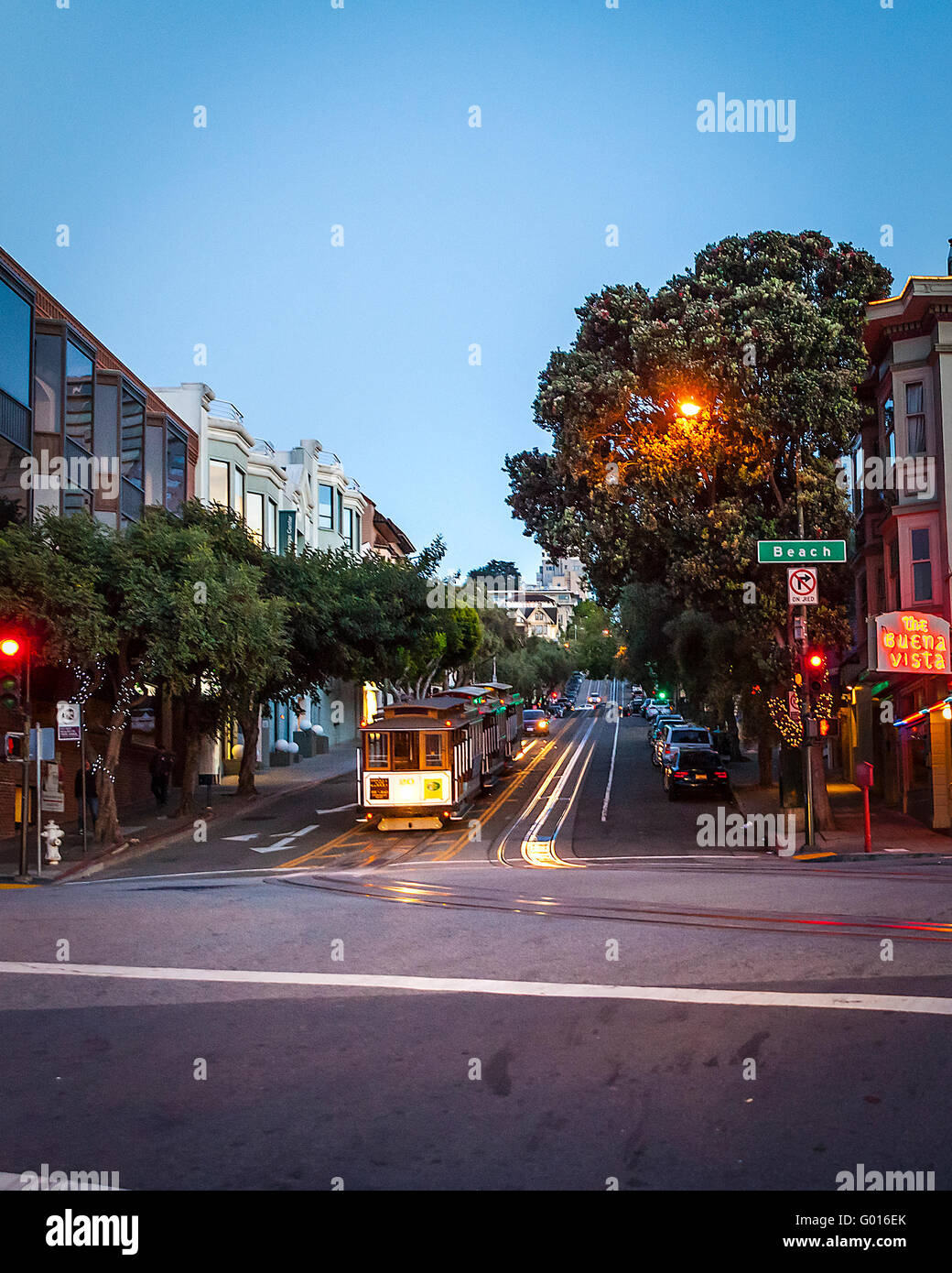 Hyde and Beach streets and the Buena Vista Cafe in San Francisco California with cable cars parked for the evening Stock Photo