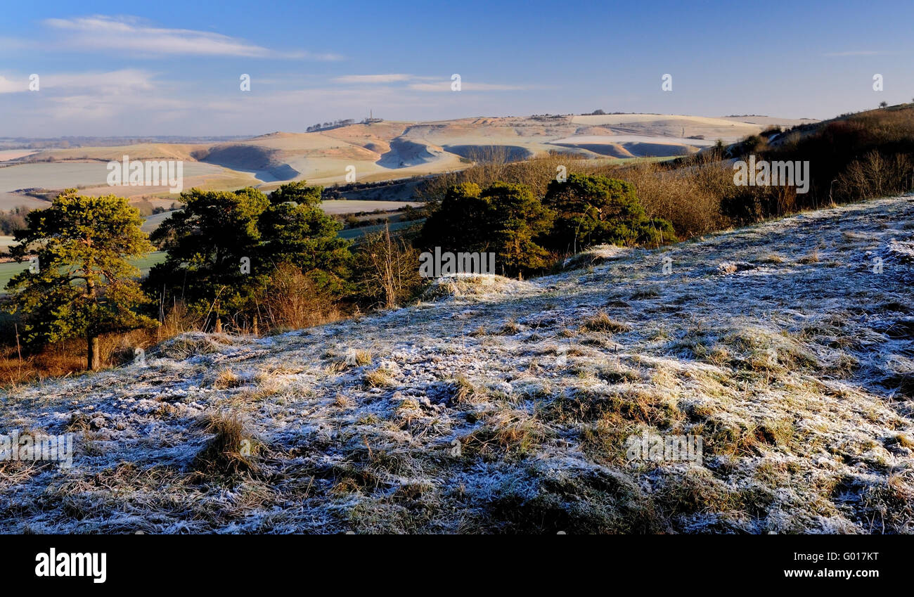 A frosty morning on Morgan's Hill, looking towards Cherhill Down. Stock Photo
