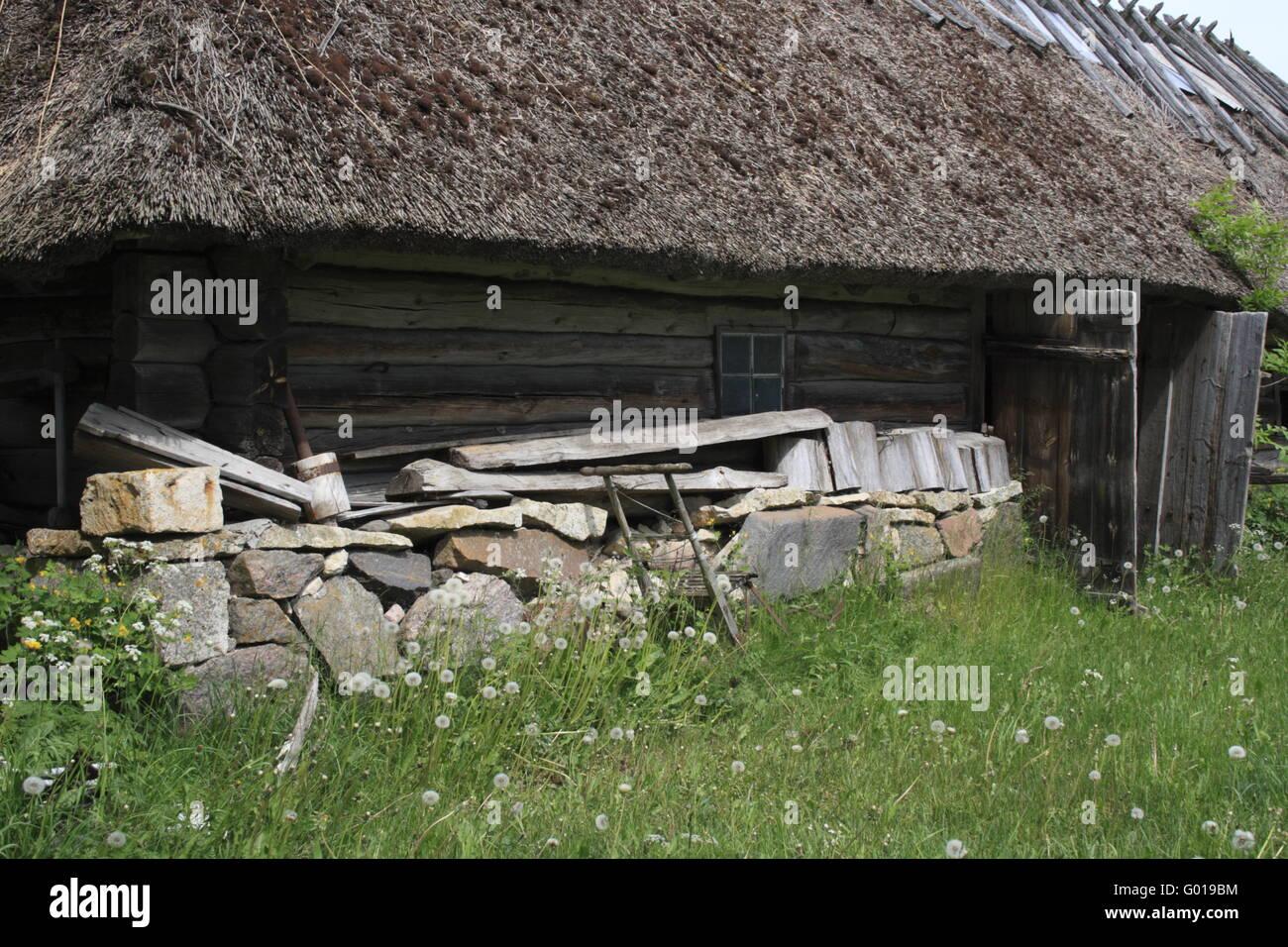 facade of an old historic farm, Estonia, Baltic Country, Europe Stock Photo