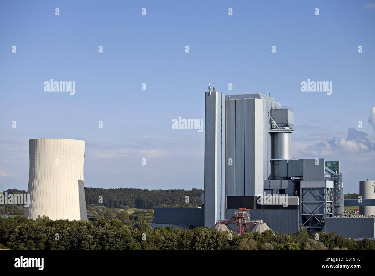 detail of a power plant on a sunny day - Stock Image