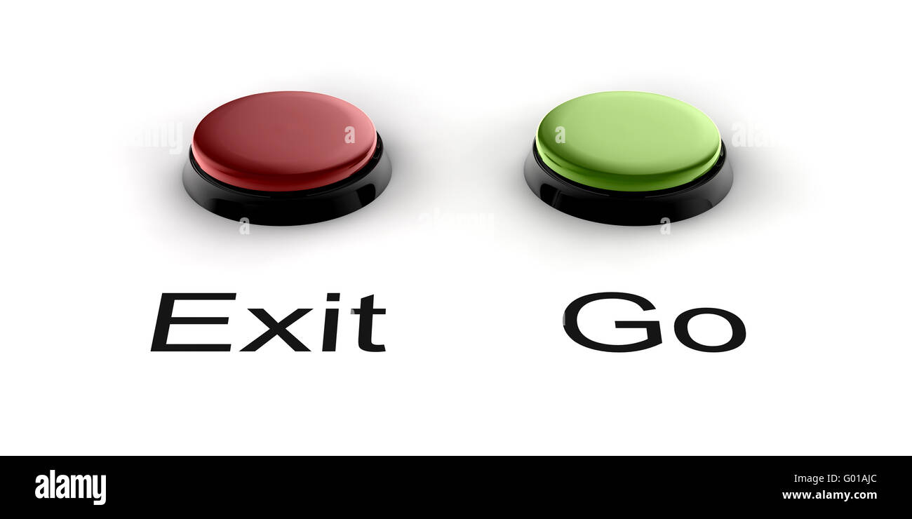A green and red buzzer button for exit and go - Stock Image
