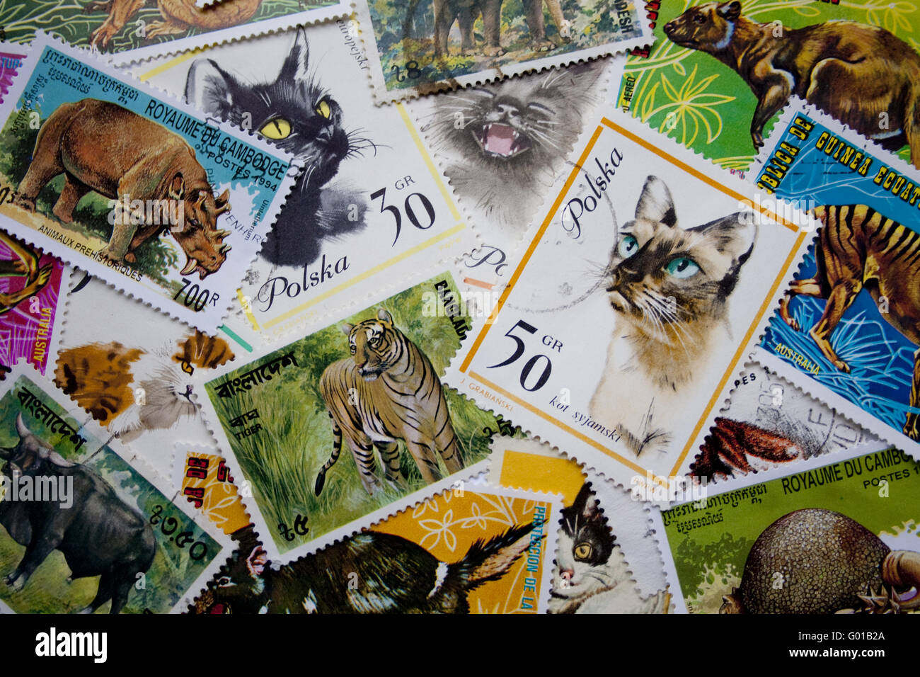 World stamps: animals - Stock Image