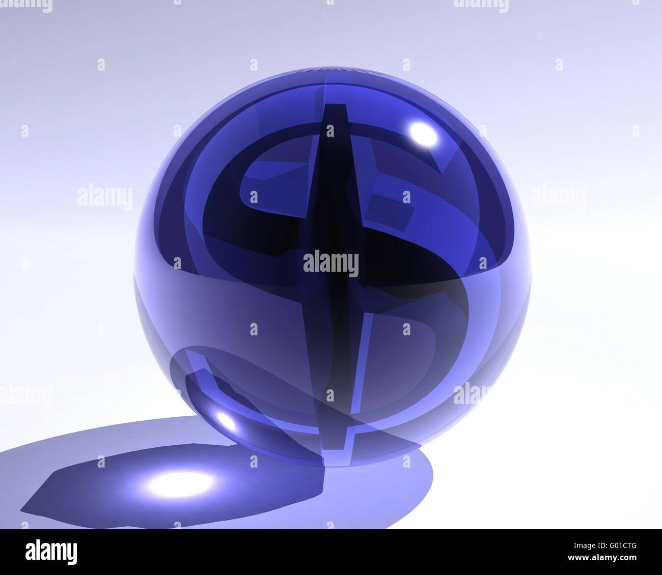 blue glass sphere with a dollar symbol inside - Stock Image