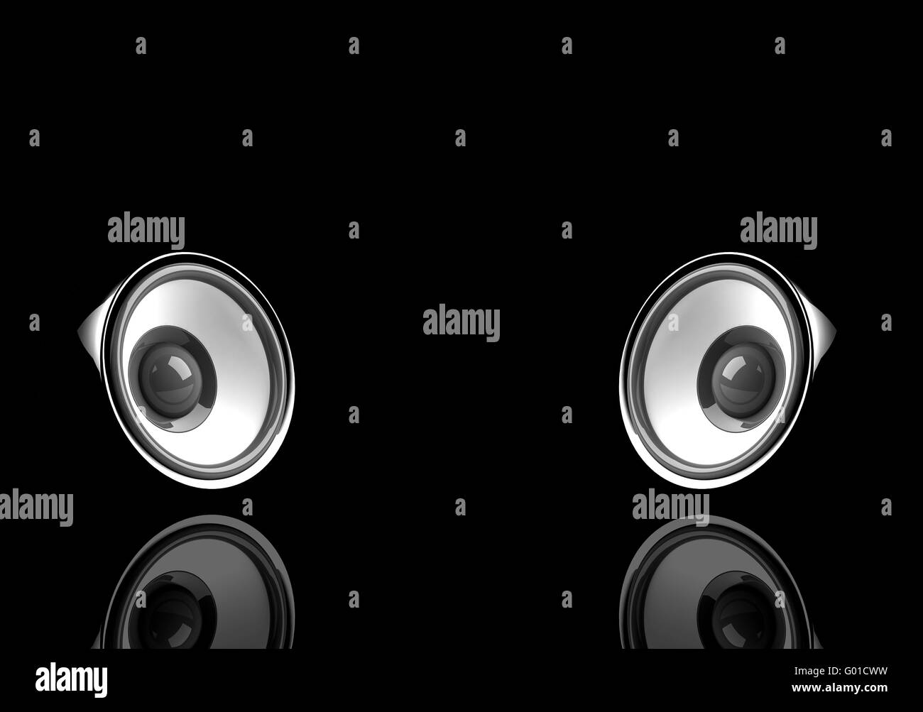 black audio system with reflection on the black - Stock Image
