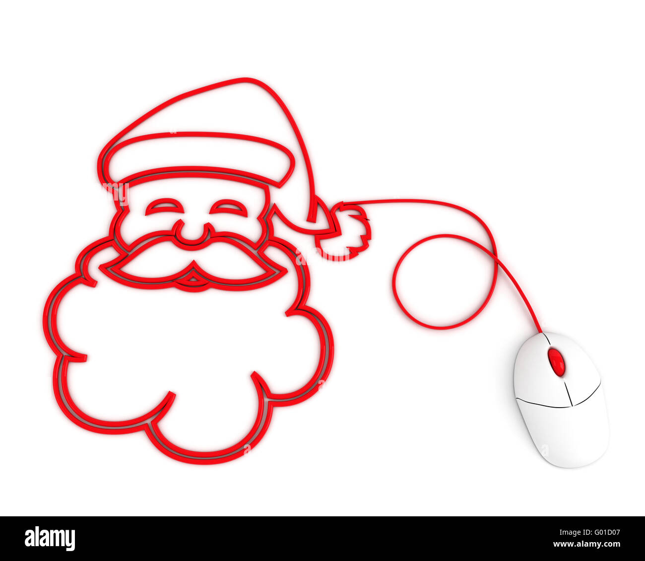 smiling Santa depicted with computer mouse cable - Stock Image