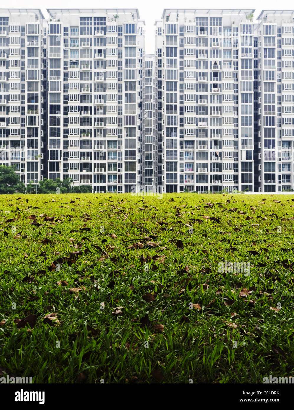 condominium housing with green grass field foreground. - Stock Image