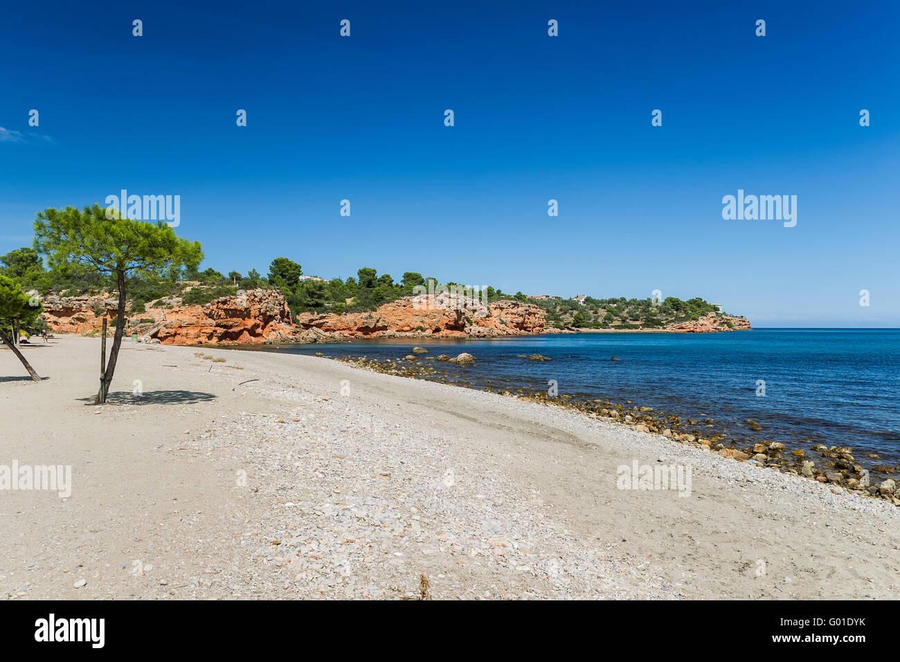 The beach of the Mediterranean Sea - Stock Image