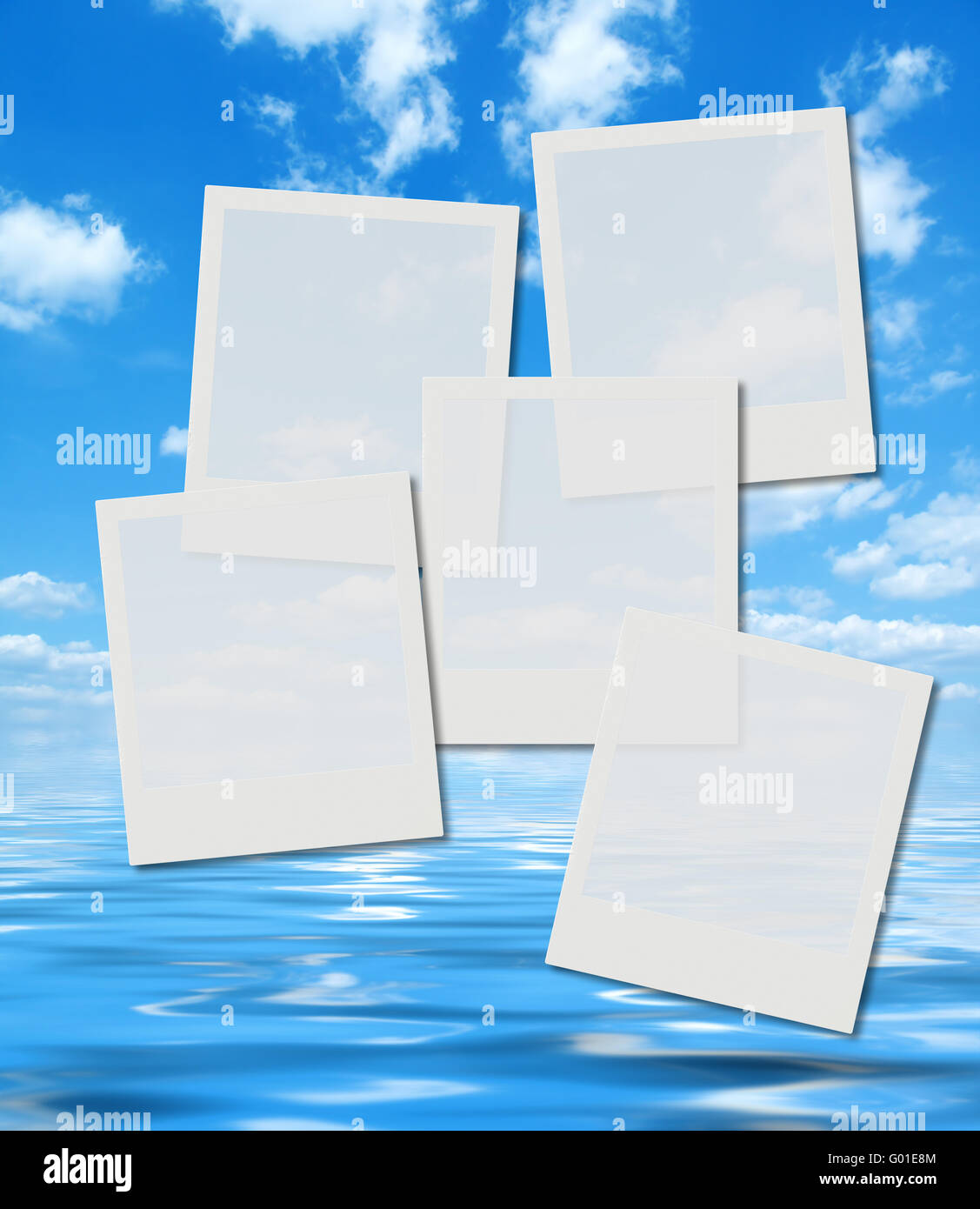 blank instant photo frames over summer sky and ocean image Stock ...