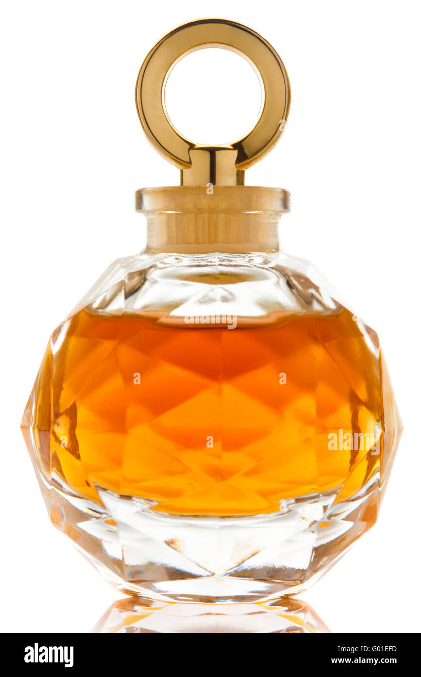 Perfume in a beautiful glass jar on white background - Stock Image