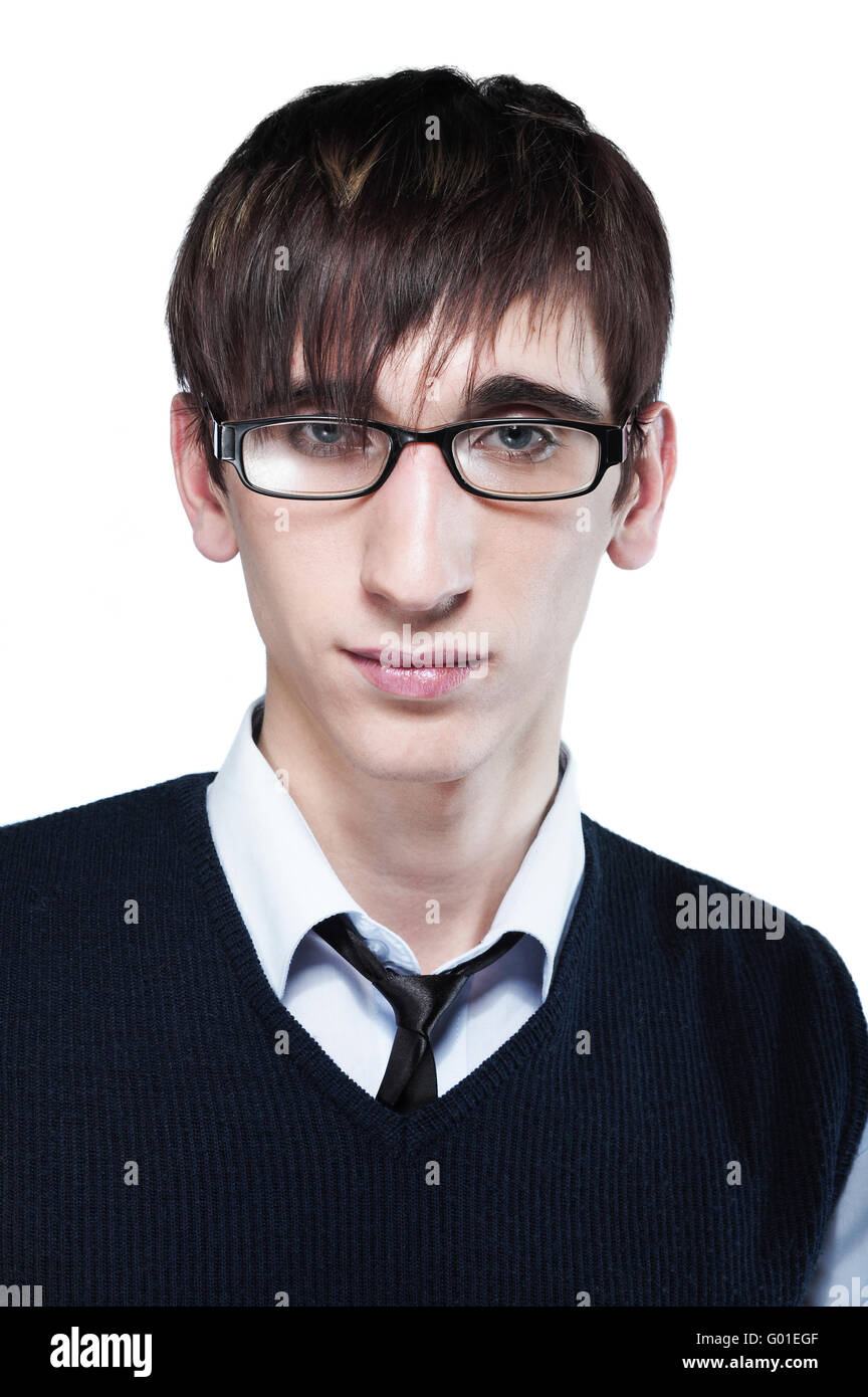 cute young guy with fashion haircut wearing glasses, on white Stock ...