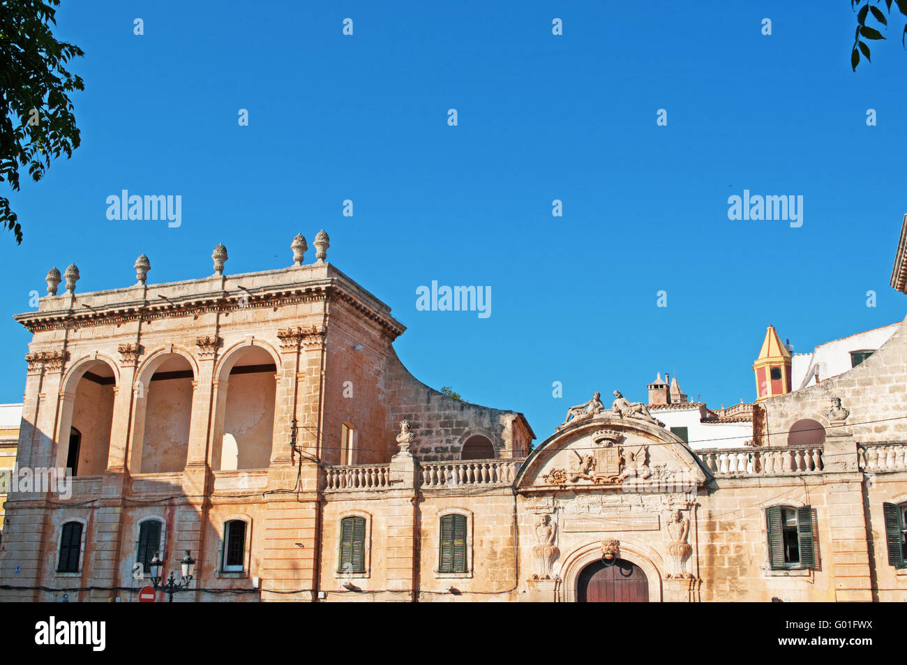 Menorca, Balearic Islands: Ciutadella, details of Torre Saura Palace, one of the main places of touristic interest - Stock Image