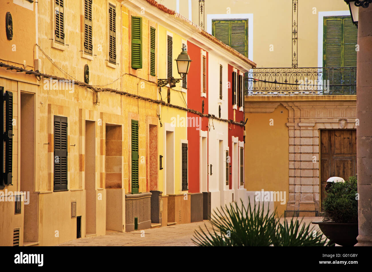 Menorca, Balearic Islands, Spain, Europe: palaces and building in the streets and alleys of the old town of Ciutadella - Stock Image