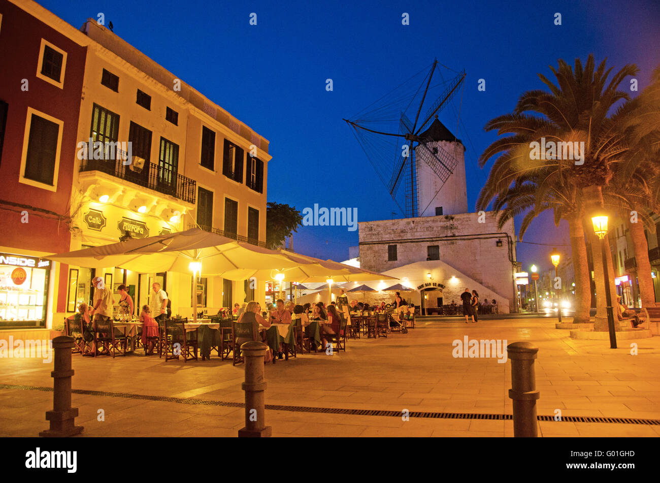 Menorca, Balearic Islands, Spain, Europe: night view of the Moli d'es Comte Asador in Ciutadella, an old windmill - Stock Image