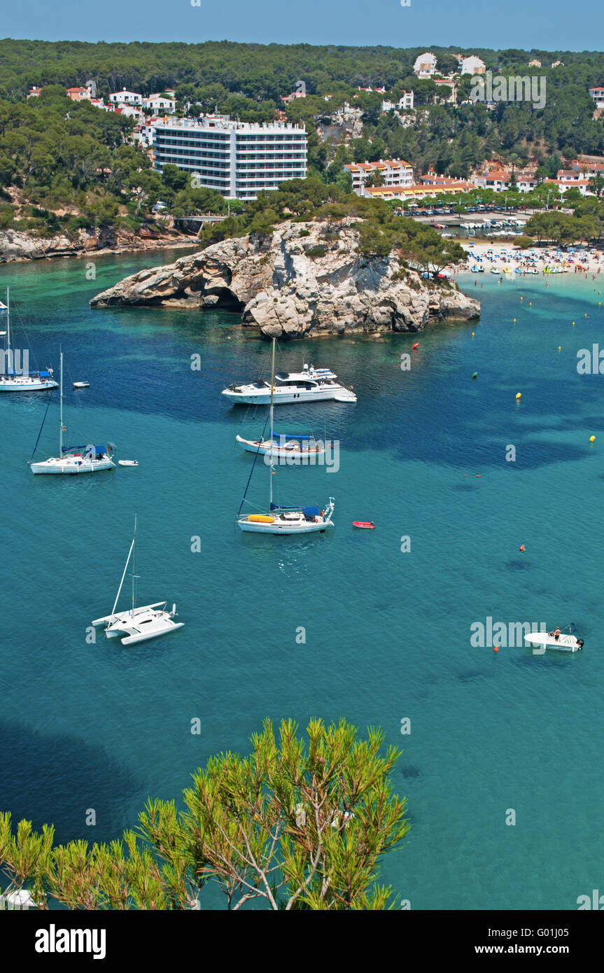 Menorca, Balearic Islands, Spain, Europe: panoramic view of the beach and the bay of Cala Galdana, known as the - Stock Image