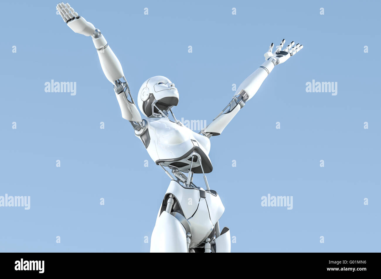 Female humanoid robot with arms upraised to the sky in exaltation - Stock Image
