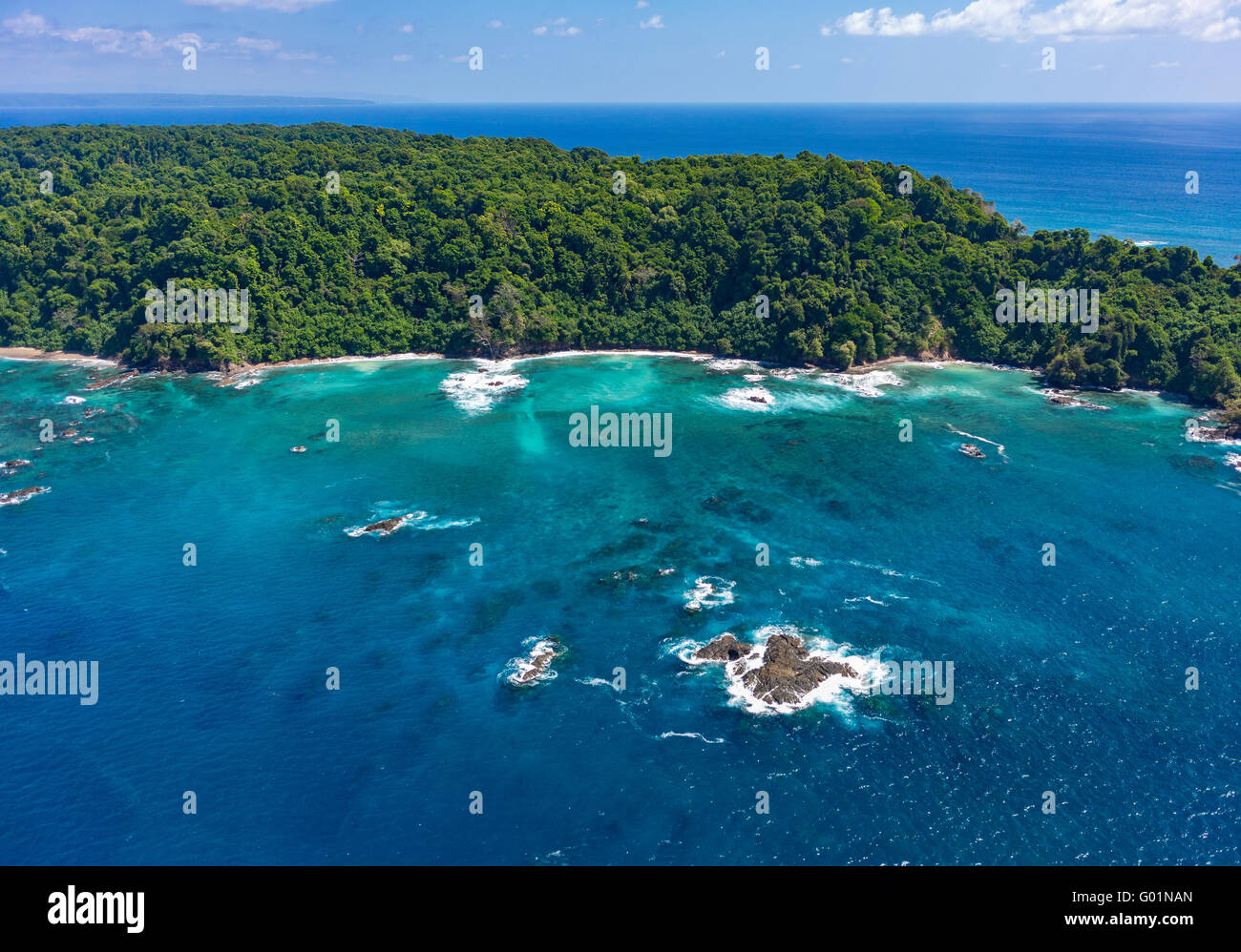 ISLA DEL CANO, COSTA RICA - Aerial of Cano Island National Park, an Island in Pacific Ocean - Stock Image