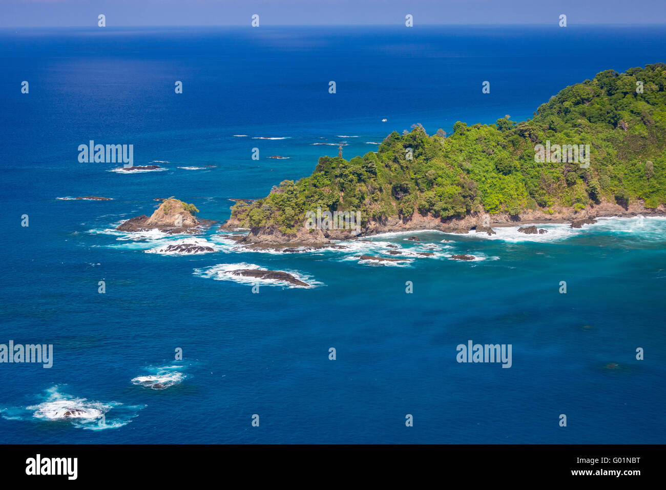 ISLA DEL CANO,, COSTA RICA - Aerial of Cano Island National Park, an Island in Pacific Ocean - Stock Image