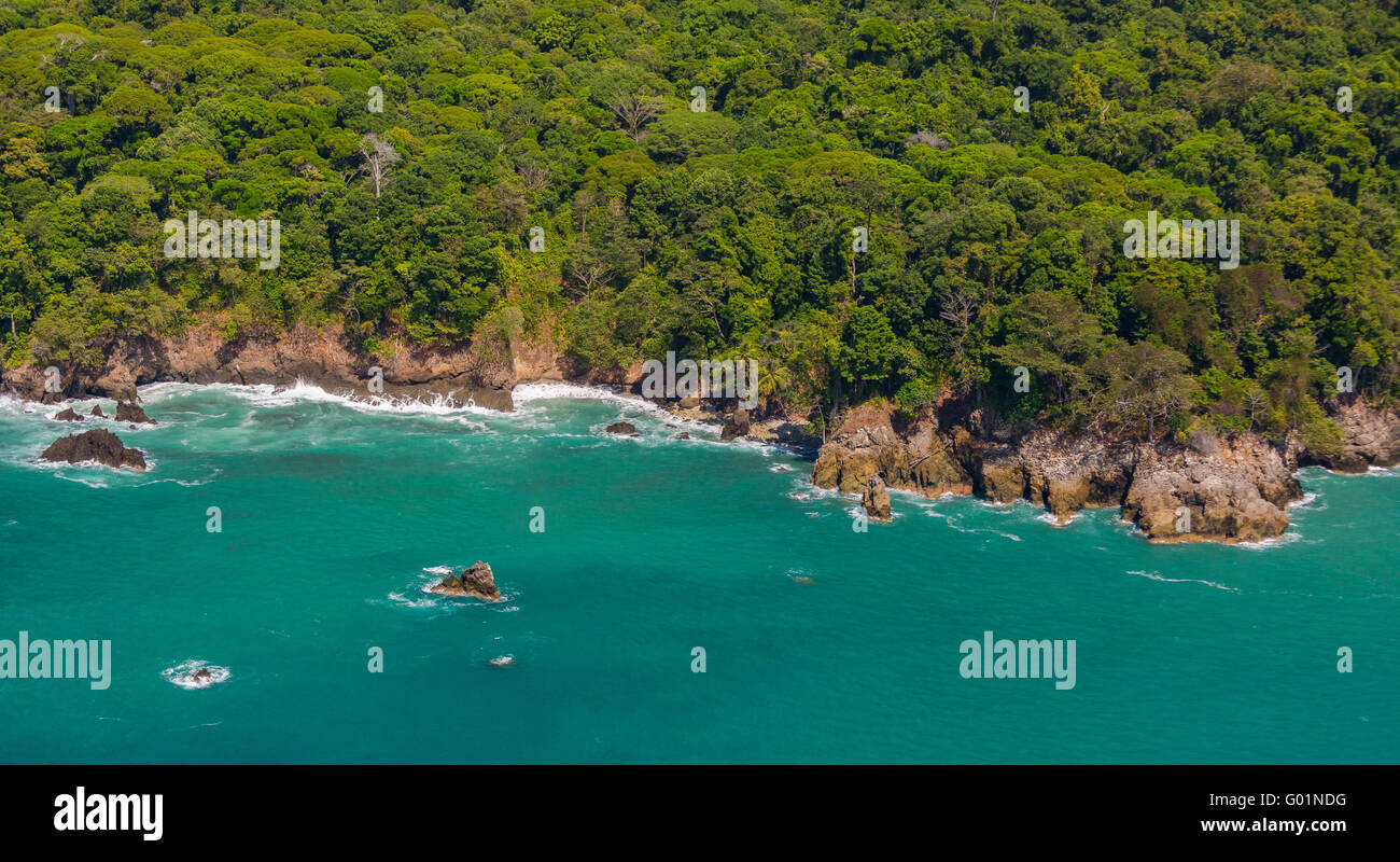 CORCOVADO NATIONAL PARK, COSTA RICA - Rain forest and Pacific coast of Osa Peninsula. - Stock Image
