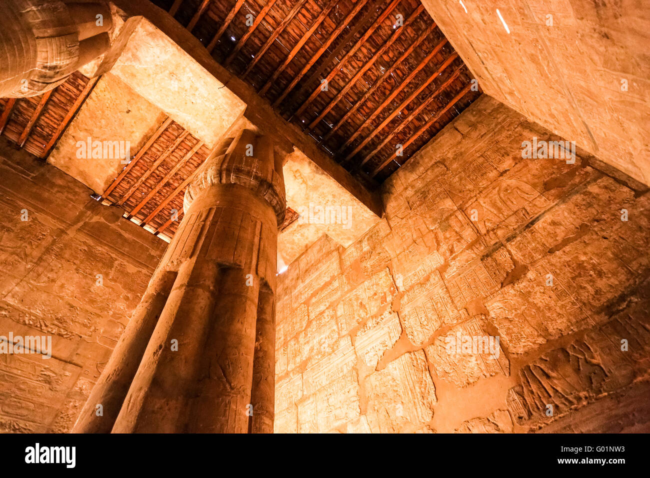 Temple of Luxor at night, Luxor city, Egypt - Stock Image
