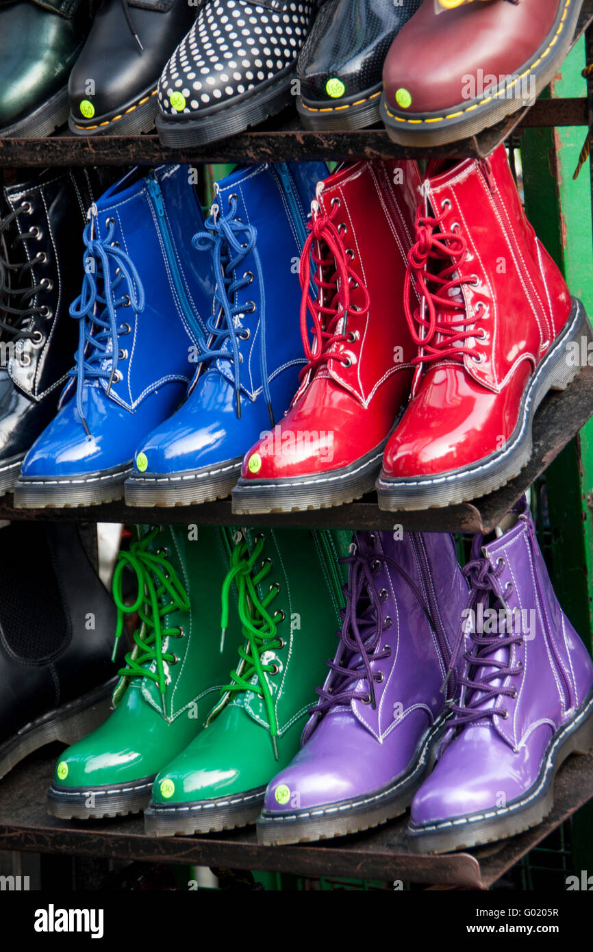 0bf2f783e40 Coloured Docs Dr Martens boots Camden Market London England UK - Stock Image