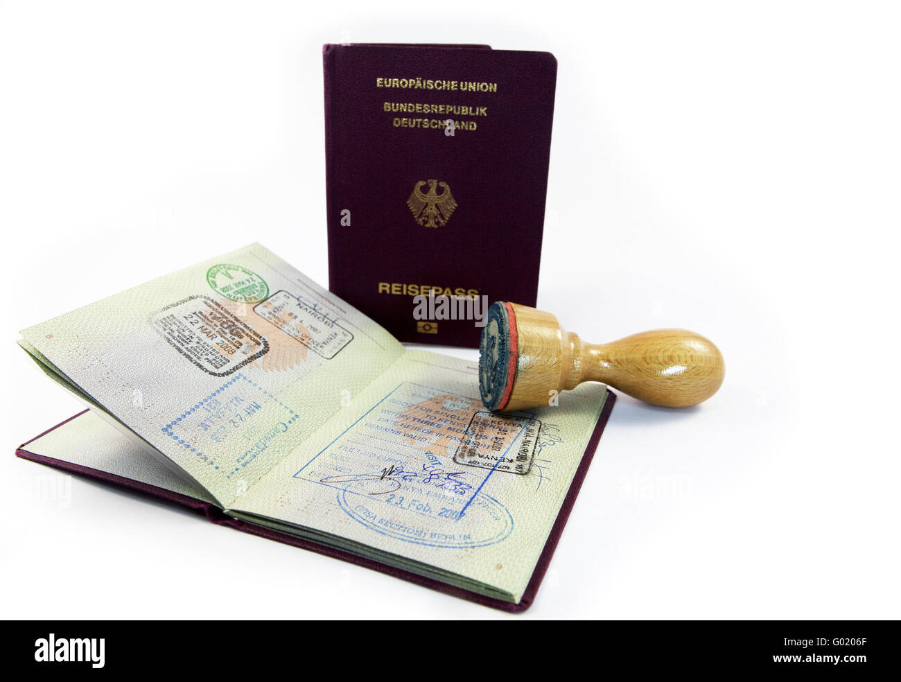 Entry stamp and stamp in a passport of the Federal Republic of Germany - Stock Image