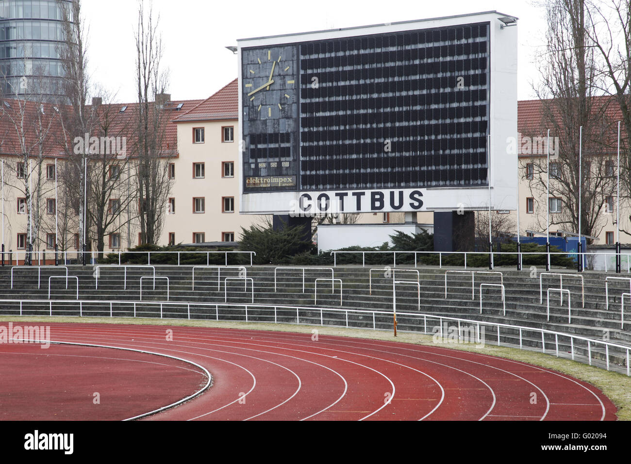 Athletics stadium in Cottbus - Stock Image