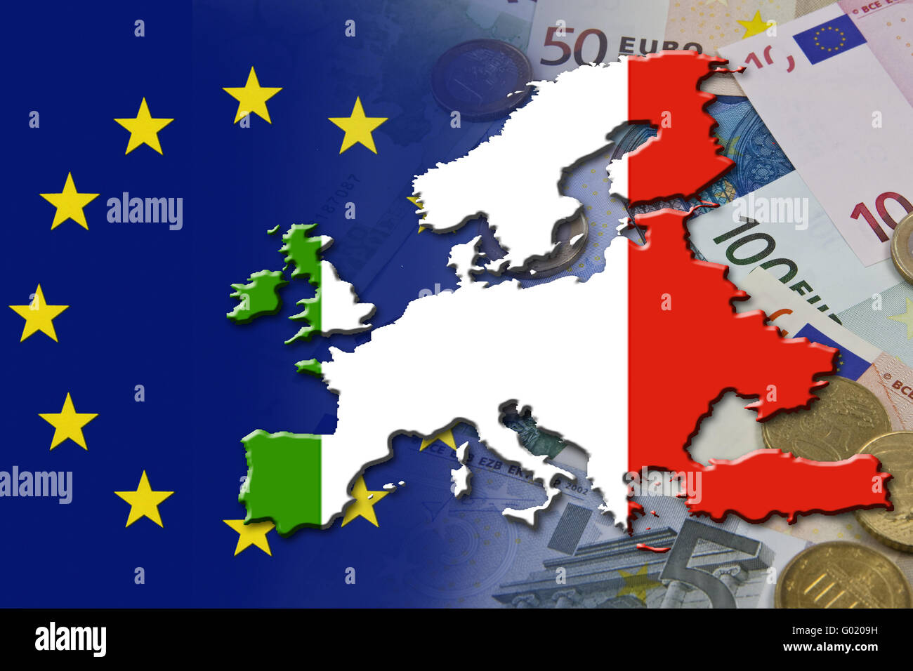 Financial and economic crisis in the euro area in Europe of the country Italy - Stock Image