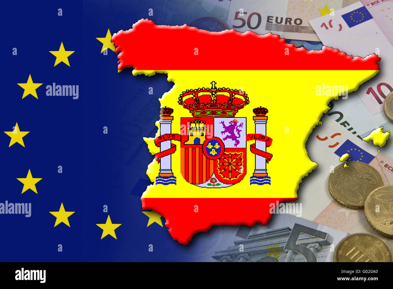 Financial and economic crisis in the euro area in Europe of the country Spain - Stock Image