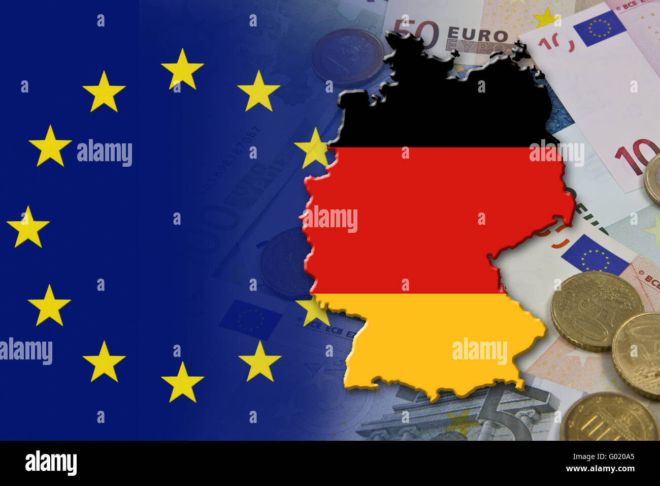 Financial and economic crisis in the euro area in Europe of the country Germany - Stock Image