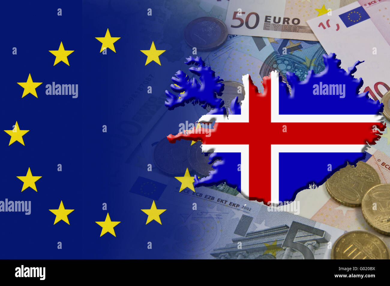 Financial and economic crisis in the euro area in Europe of the country Iceland - Stock Image