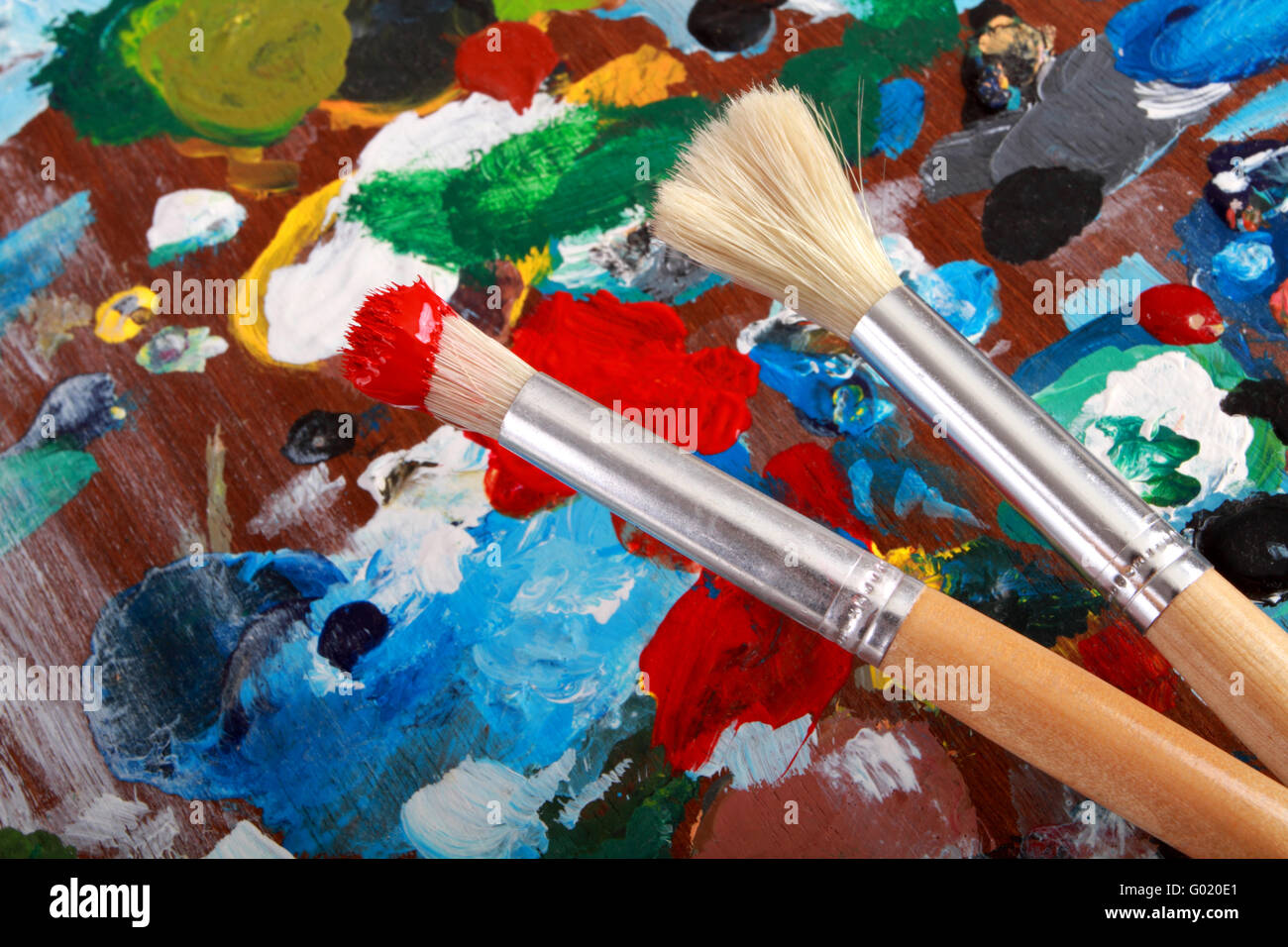 Classic artists palette with paintbrushes background. - Stock Image